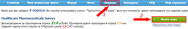 Список опросов для прохождения на сайте Voprosnik