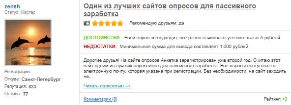 Мнение пользователя о проекте Анкетка