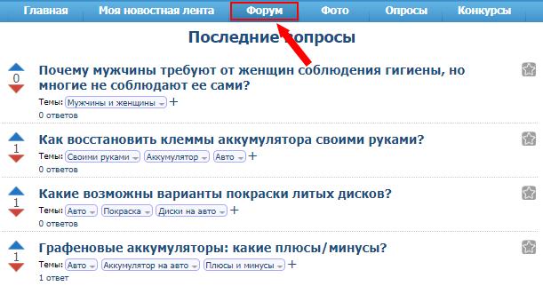 Форум сервиса Вопросник