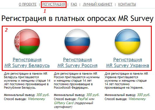 Регистрация в проекте Mr Survey