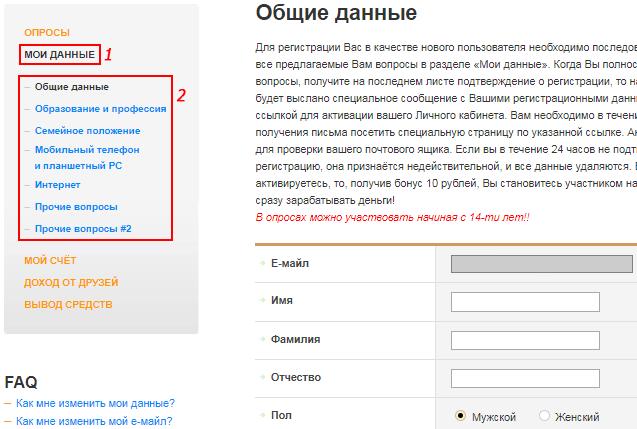 Заполнение профиля на PlatnijOpros
