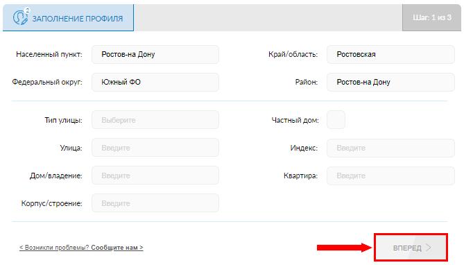 Заполнение профиля на Scanner Gfk