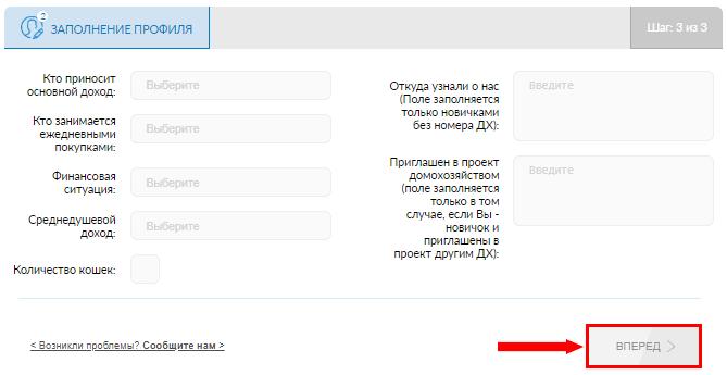 Завершающий этап заполнения профиля на Scanner Gfk